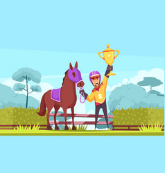 flat equestrian sport composition vector image