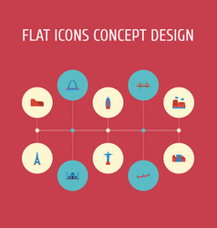 Flat icons india mosque china london and other vector