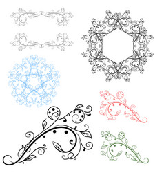floral decorative filigree elements vector image