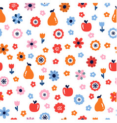 Floral seamless pattern with flowers and fruits vector