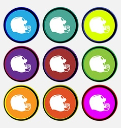 Football helmet icon sign Nine multi colored round vector