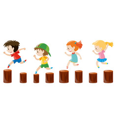 Four kids running on the logs vector