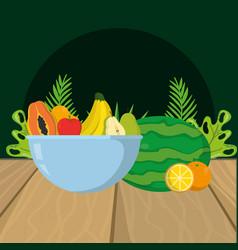 fresh fruits cartoon vector image