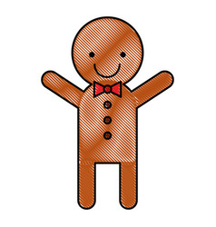 ginger cookie christmas icon vector image