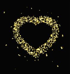 Gold pieces foil in shape a heart vector