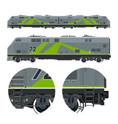 Green locomotive rail transportation vector