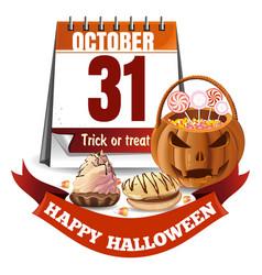 Halloween calendar and pumpkin basket with candies vector
