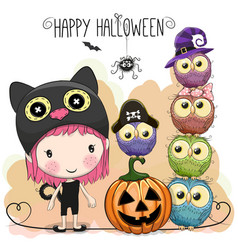 Halloween card with girl and owls vector