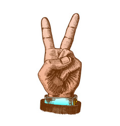 hand gesture color peace symbol two finger up vector image