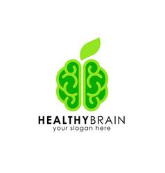 Healthy brain logo design green brain icon vector