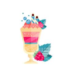 Icon tasty multi-layered dessert with ice-cream vector