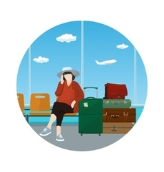 Icon Waiting Room with a Woman vector