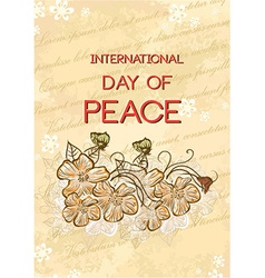 International Day of Peace with doodle flowers vector
