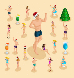 isometric celebration of christmas sea beach vector image