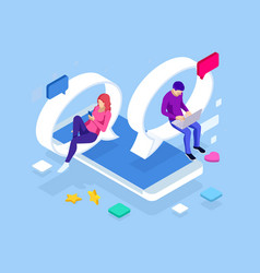 isometric concept social media network digital vector image