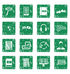 Learning foreign languages icons set grunge vector