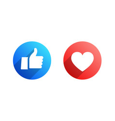 Like and heart flat icons vector