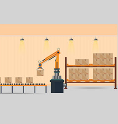 manufacturing warehouse conveyor vector image
