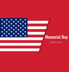 memorial day background usa flag banner vector image