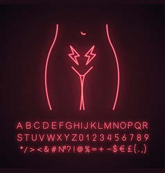 Menstrual cramps and pain neon light icon vector