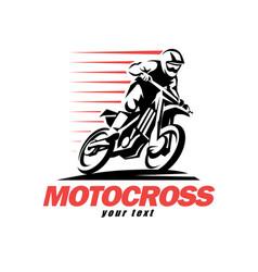 Motocross stylized symbol design elements vector