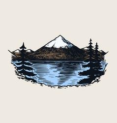 mountain peaks vintage rock old highlands range vector image