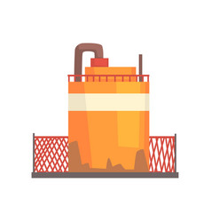 Orange metal tank industrial factory storage vector