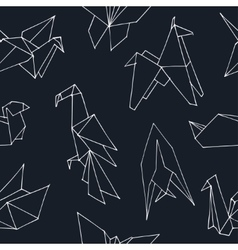 Origami hand drawn doodle seamless pattern vector