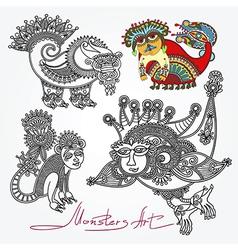 Ornate doodle fantasy monster vector