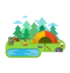 Outdoor Recreation Fishing Camp vector image