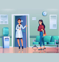 patient at reception woman doctor invite on visit vector image