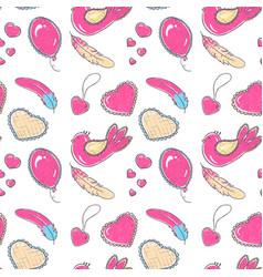 pattern hand drawn hearts vector image
