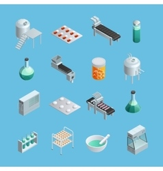 Pharmaceutical Production Icons Set vector