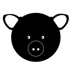 pig head the black color icon vector image
