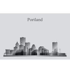 Portland city skyline silhouette in grayscale vector