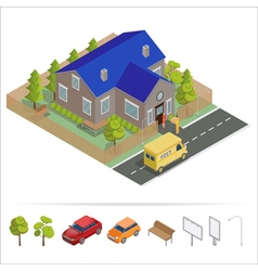 Postal Service Isometric House Delivery Truck vector image