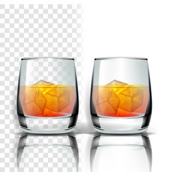 Realistic glass with whisky and ice cubes vector