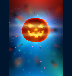 Realistic glowing pumpkin with smiling face on vector