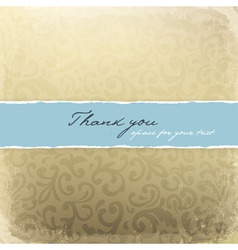 retro golden decorative card with thank you sample vector image vector image