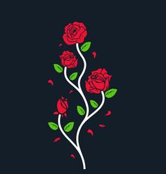 rose logo flower black background vector image