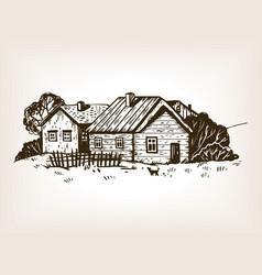 rural landscape engraving vector image