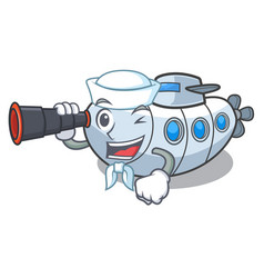 sailor with binocular submarine isolated with in vector image