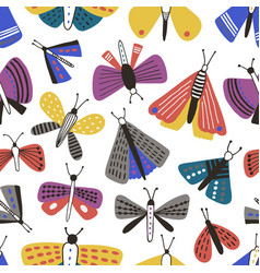 seamless pattern with cartoon moths on white vector image