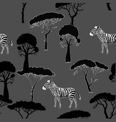 Seamless pattern with zebra and savanna trees vector