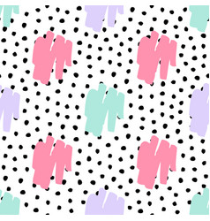 seamless trendy messy geometric and polka dot vector image