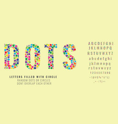Set letters made colored dots or filled vector