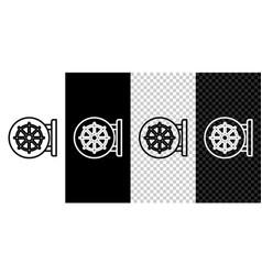Set line dharma wheel icon isolated on black vector