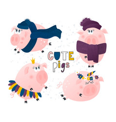 Set of cute pigs pig in a hat and scarfpig vector