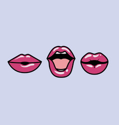 set of mouths pop art styles vector image