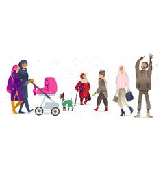 set of people walking under vector image
